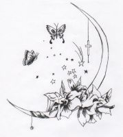 Moon and butterfly by Saoni