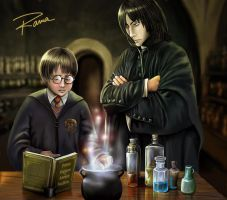 Harry and Snape by RamaChan