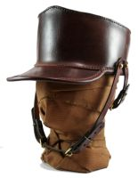STEAMPUNK LEATHER SHAKO  - dark brown leather by AmbassadorMann