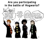 The Houses During the Battle of Hogwarts by HikariMichi