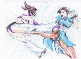 Chun Li kicking Juri by RyuAensland