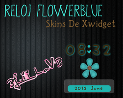 Reloj flower blue xwidget by 3LxiiLov3