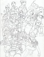 Mass Effect 2 Group shot Draft by feitian