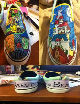 beauty and the beast shoes by CreatureofFantasy