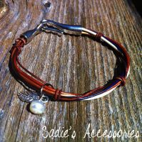 Copper and Silver Leaf Bracelet by SadiesAccessories