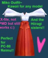 PL2- to-MMD Miko Outfit by Daiyousei-Chan