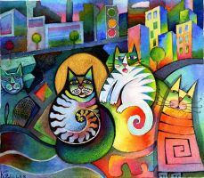 City Cats bigger print by karincharlotte