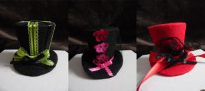 Three Mini Top Hats - Gothic Lolita Style by moesashi