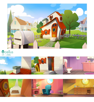 animated serie backgrounds by Inkola