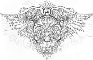 SugarSkull outline by DarcyRenee