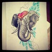 Elephant tattoo design by kirtatas