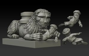 Romanesque lion sculpture WIP by MacX85