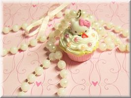Hello Pink White Kitty Cupcake by ImperfectKawaii