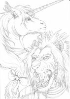 Lion and Unicorn lineart by fiszike