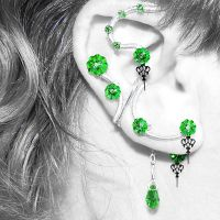 Peridot Steampunk Ear Wrap and Cuff Set- SOLD by YouniquelyChic