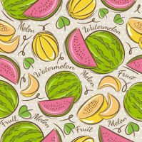 Painted Hami melon and watermelon seamless backgro by FreeIconsdownload