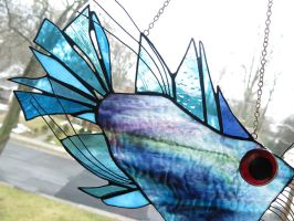 Stained Glass Anglerfish Suncatcher by trilobiteglassworks