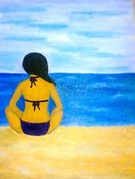 """at the beach"" oil paint by maineboni"