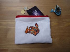 Cross stitch Charizard pouch by Miloceane