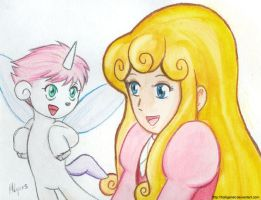Unico and Cherry in watercolor by HolliGenet