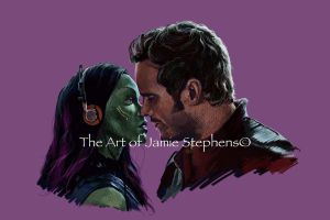 Guardians of the Galaxy, Gamora and Star-Lord by Jamos2007