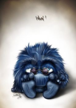 bored blue fluffy monster _ what? by JICO88