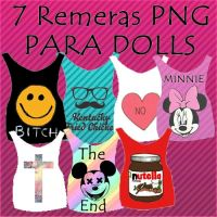 Pack De 7 Remeras Png Para Dolls by camiiLoveEditons