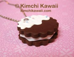 Chocolate Sandwich Cookie Necklace by FrostedFleurdeLis