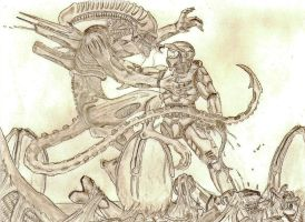 Master Chief vs. Xenomorph by Ookami-Kodomo