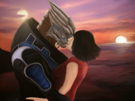 Garrus and Shepard by Kabrial