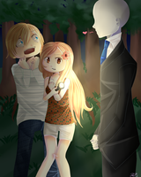 Pewdiepie and Cutiepie meet Slenderman by KeikoPurpleOx