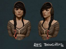 Girl head sketch 2 by ResThoughtless