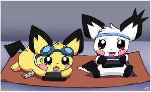 Gaming Pichus by pichu90