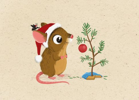 Matchstick Mouse  - Christmas Tree by morganobrienart