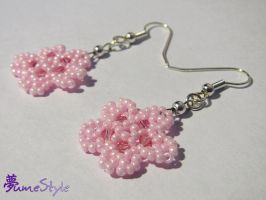 Beaded Sakura Earrings by Sarinilli