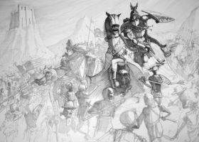 Bretonnian army charge by Gopalik