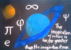 Richard Feynman quote and random planets by Abstract-scientist