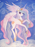 Princess Celestia portrait A2 by Dalagar