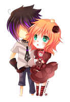-- Chibi couple commission for ReisenSama -- by Kurama-chan