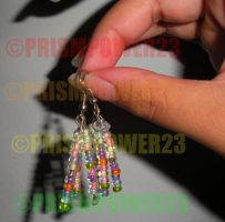 Rainbow seed bead earrings by prismpower23