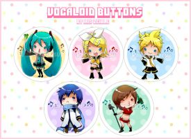 Chibi Vocaloid Buttons by Iris-Zeible