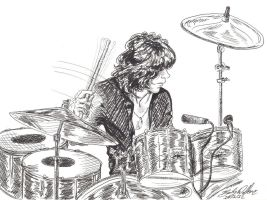 Cozy Powell line drawing by cozywelton