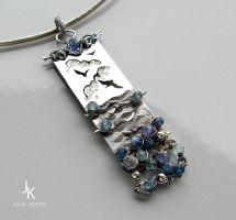Long silver pendant The hues of the sea by JSjewelry