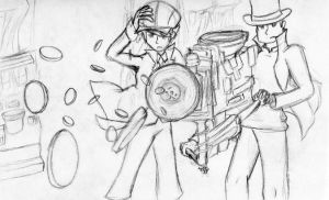Layton and 'Future Luke' Coin Shooter by Solar-Symphony