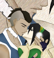 Sokka and Toph's second kiss by jncomplete