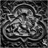 Winged Lion  BW by viktoer