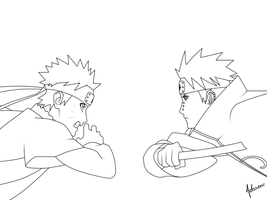 Naruto VS Pain LINEART by nelsonaof