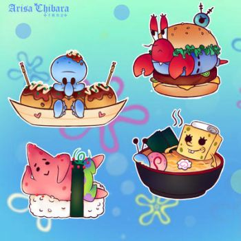 Spongebob chibi food stickers by arisa-chibara