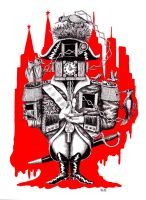 Imperial clock pen ink surreal drawing by Vitogoni