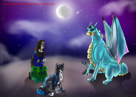 The Human, the Cat, and the Dragon by TheDragonInTheCenter